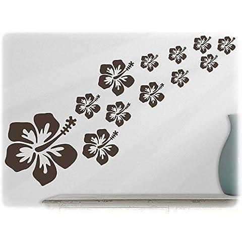 Parete fabrik - adesivo da parete - 16 sunglory Hibiscus fiori 80-marrone