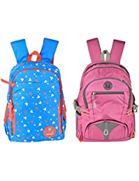 Friend Agencies Nylon 20 Liters Blue & Orange School Backpack, Combo Of 2