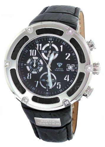 Aqua Master serie pirata de hombre negro piel y bisel de acero de 0,20CT Diamond Reloj W # 346