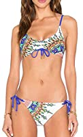 Generic Women's Print Halter Bandage Two Piece Bikini Set Swimsuit XS As picture