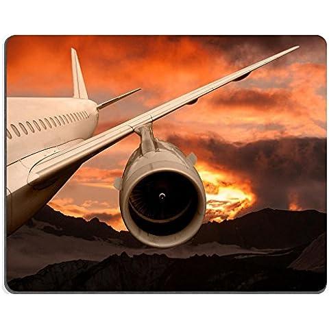 """Liili Mouse Pad-Tappetino per Mouse in gomma naturale con immagine: ID 20858711 aereo, motivo: aeroplano in volo al tramonto """"su sfondo del dawn sky atterraggio o la caduta"""