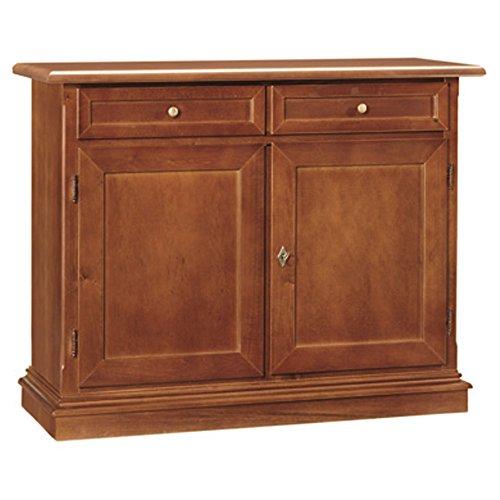 Giò luxury credenza, stile classico, in legno massello e mdf con rifinitura in noce lucido - mis. 105 x 42 x 85
