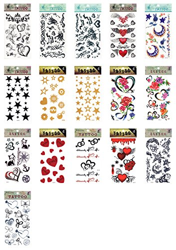 5 x Sterne Star Herzen Band Blut Symbole gold temporäre Tattoos Fancy Kleid Tattoo Halloween Body Art Make-up (Halloween-make-up Pirate)