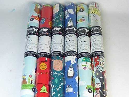 131235, 4 Rollen 200 x 70 cm STEWO Kinder Weihnachts Geschenkpapier Winter FUN, höchste Qualität, EXTRA REISSFEST, Geschenkpapier, Wrapping paper, Weihnachtsgeschenkpapier, tolle Motive
