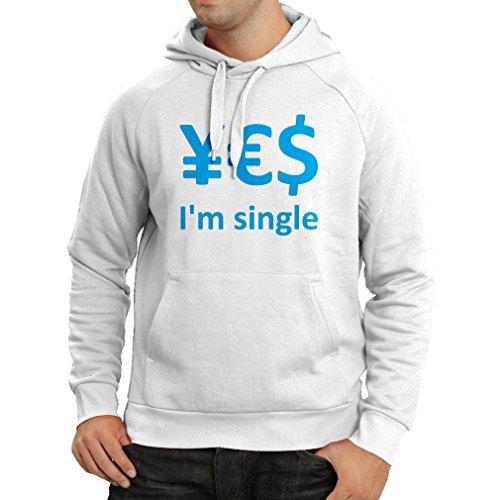 lepni.me N4596H Kapuzenpullover Yes, I\'m Single! (X-Large Weiß Blau)