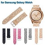 Altsommer 20mm Flash,Scheint Leder Armband für Samsung Galaxy Watch 42mm, Bling Luxus Leder Paillettenband Edelstahl Gürtelschnalle Lederarmband Replacement für Damen Herren (Gold)