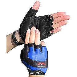 Guantes de ciclismo, Guantes de dedo medio para bicicleta, mountain biking, gimnasia, entrenamiento, deporte, para mujeres y hombres, Guantes transpirables con almohadillas de espuma