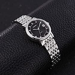 Comtex Women's Wrist Watch Black Dial with Stainless Steel Bracelet Dress Watch