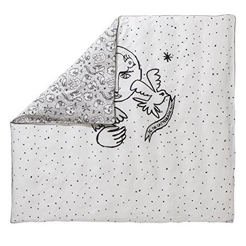 Essix x Castelbajac Housse de couette Roi Meow & Juliette Satin de coton Gris 220 x 240 cm