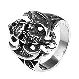 Adisaer Ring Herren Silber Ring Silber Rhodiniert Schwarz Silber Bar Punk Schädel Toten Kopf AXT mit Kreuz Ringgröße 65 (20.7) Gothic Retro Vintage Geburtstag Ring Für Freund