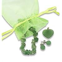 Schmuck-Set Aventurin grün, Herz, Armband, Ohrstecker versilbert preisvergleich bei billige-tabletten.eu