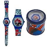 Spiderman orologio analogico da polso scatola latta 41443 (Blu) immagine