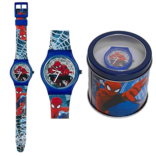 spiderman-orologio-analogico-da-polso-scatola-latta-41443-blu