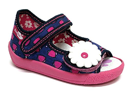 Fille sandales, pantoufles 13–138 bleuet/nœuds bleu foncé/cendré carreaux rose/carreaux/motif léopard (amarante cendré/rose/carreaux-taille 19 à 27 (de 12 à 17 cm Gris - Kornblume/Schleifchen
