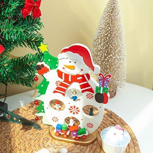 sktop Baum,Mini Holz DIY Weihnachtsbaum mit Schneemann,Fenster Tisch Dekoration Weihnachtszierde (12 * 7 * 1,3 cm) ()