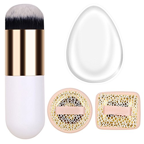 E L V Silicone Makeup Sponge With Blush-On Puff & Makeup Brush Dome Shaped Synthetic Bristles (1 Packs Limited Edition).