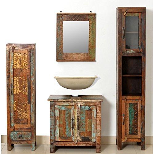 Festnight set mobile arredo bagno in legno anticato con specchio e 2 armadi laterali