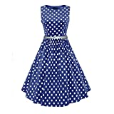 LUOUSE Damen 50s Hepburn Stil Swing Party Rockabilly Cocktailkleid,Blue,XXL