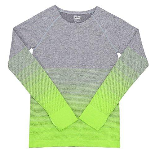 Brightup Donne Sport Base Lunga Manica Sotto Strato Dry-Fit Gym Yoga Camicie (T-shirt Manica Lunga Camicia Verde)