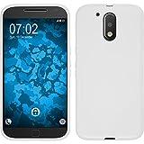 PhoneNatic Case für Motorola Moto G4 Plus Hülle Silikon weiß S-Style + 2 Schutzfolien
