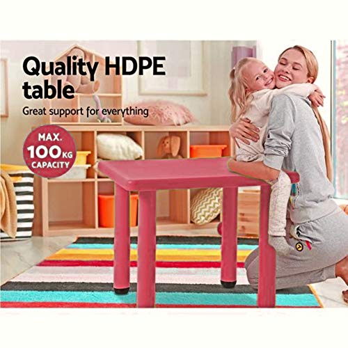 Intra Kids Strong And Sturdy School Study Table Without Chairs - Square (Red)