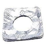 asentechuk® 100/Pack Aluminium Folie Gas Herdabdeckplatten Antihaft-Kochfeld Bildschirmschutzfolien Herdes Schutz Pad Küche Supplies, silber, Quadrat
