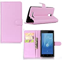 Guran® Leather Case for Doogee Kissme DG580 Smartphone Flip Cover Standing Function and Card Slot Mobile Case--pink