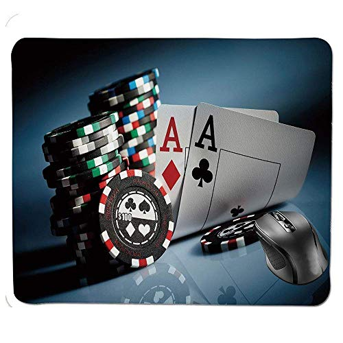 FOSHANSH Mouse Pad,Gambling Chips and Pair Cards Aces Casino Wager Games Hazard Mouse Pad -