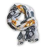SoulCats® 1 St. superschönes Tuch Skulls Totenkopf Schal Chiffon Stola Halstuch weiß blau, Farbe:weiß