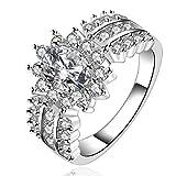 fashion 925 de plata de ley incrustaciones de joyería multi zircon anillo de fiesta playback o cama de matrimonio Tamaño 7