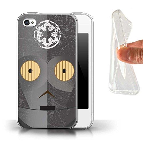 Stuff4® Gel TPU Hülle/Case für Apple iPhone 4/4S / Schwarze Imperiale X-Serie Muster/Protokoll Droide Kollektion - Telefon-abdeckungen 4s Iphone