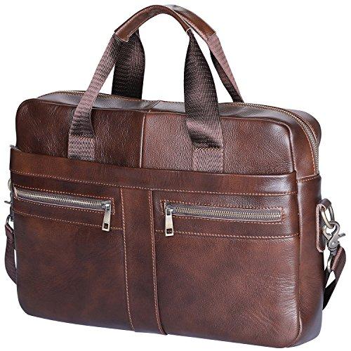 Aktentasche Herren Leder Echt, 14 Zoll Laptoptaschen Businesstasche Vintage Ledertasche Henkeltasche Umhängetasche Schultertasche, Braun