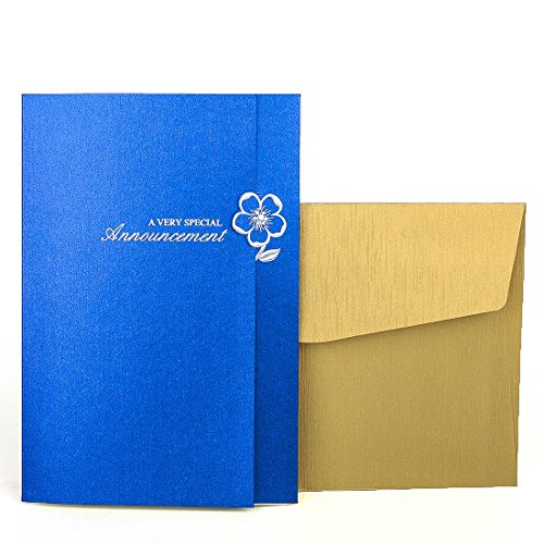 Vintage Laser geschnitten Hochzeit Einladungen Karten blau 50Stück Kit für Marriage Verlobung Geburtstag Braut Dusche Katzenstreu Blume Design mit Gold Briefumschläge Dichtungen Partyzubehör
