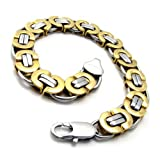Vantasy Charm Men's Fashion Durable Stainless Steel Mild Golden Tone Linked Chain Cuff Bangle Bracelet,Silver & Golden
