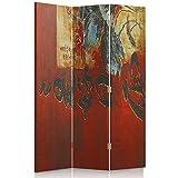 Feeby Frames Il paravento Stampato su Telo,Il divisorio Decorativo per Locali, unilaterale, a 3 Parti (110x150 cm), Mondo Cultura, Orient, Calligrafia Giapponese, Rosso, Nero