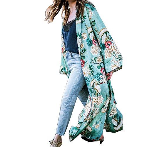 Damen Strickjacke,Frashing Frauen Böhmen Blumen Troddel lange Kimono übergroße Schal Tops S~3XL (3XL, Grün) (Classic Breasted Double Anzug)