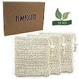 Sisal Seifensäckchen Natur von Pemposity - Bio Seifenbeutel für Körper-Peeling - plastikfrei & vegan - Öko Seifennetz für Seifen und Seifenreste [3er Set]