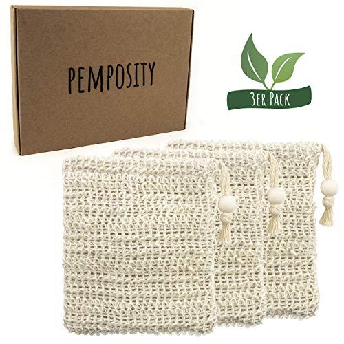 PEMPOSITY Sisal Seifensäckchen Natur - Seifenbeutel Bio für Körper-Peeling - 100{ac3ceebd4bff06e427a56b8d40355518f612db81e4148985921a8147b9b1b814} plastikfrei & vegan - Öko Seifennetz für Seifen und Seifenreste [3er Set]