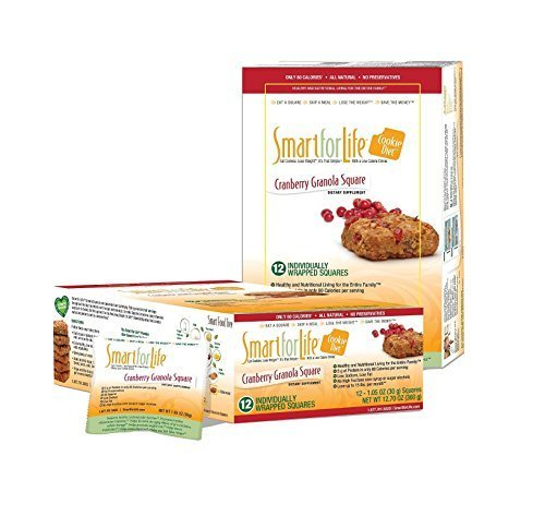Smart for Life Cookie Diet Meal Replacements, Cranberry Granola Squares, 1.05 oz cookie - 12-count by Smart for Life (Life-cookies Smart)
