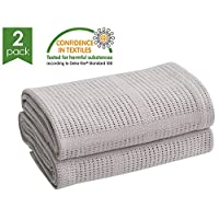 Bloomsbury Mill - Twin Pack - 100% Pure Cotton - Extra Soft Cellular Baby Blankets - Pram/Travel/Moses Basket - Grey