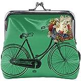 Emerald Green Flower biciclette sveglio dell'inarcamento Pelle monetina del raccoglitore della borsa