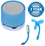 #3: Captcha Wireless LED Bluetooth Speakers S10 Handfree with Calling Functions & FM Radio with Portable Usb Fan For Laptop/ Desktop/ Powerbank and with 5V 1.2W Portable Flexible USB LED Light Lamp Compatible with Xiaomi, Lenovo, Apple, Samsung, Sony, Oppo, Gionee, Vivo Smartphones (One Year Warranty)