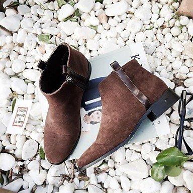 Rtry Femmes Chaussures Pu Automne Bottes De Combat Bottes Chunky Talon Bout Rond Zip Pour Casual Noir Brun Us8 / Eu39 / Uk6 / Cn39