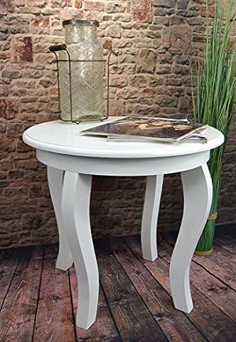Livitat® Beistelltisch Couchtisch Tisch rund Ø50 cm Landhaus Weiß
