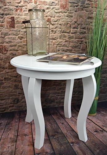 Livitat Beistelltisch Couchtisch Tisch rund Ø50 cm Landhaus Weiß LV4056