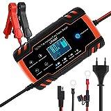 URAQT Chargeur Batterie, Chargeur de Batterie Voitures Intelligent Portable LCD Écran avec Protections Multiples Type de réparation pour Batterie de Voiture Moto (#3)