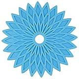 MWPO Tovagliette, Set di 6 tappetini Geometrici Floreali in Gel di silice Tovagliette Lavabili Resistenti al Calore da Tavolo Sottobicchieri per Barbecue da Giardino (Colore Opzionale), blu2
