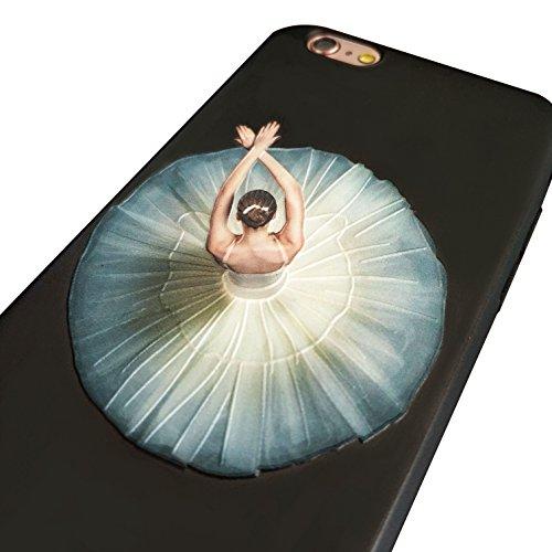 Coque iPhone 7, Étui iPhone 8 [avec Verre Trempé], Étui Housse Téléphone le soulagement Étui TPU Silicone Souple Coque Motif Arrière Case Antichoc Résistant Aux Rayures Housse Étui - Fleurs Foses Ballet