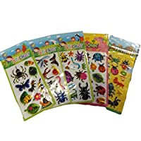 5 x small sheets of insect, ladybird, bugs Stickers for kids boys, craft, scrap books, card making, gift party bags