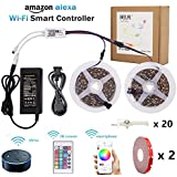 RGB LED Strip Light, BEILAI Wifi Wireless Smart Phone Controlled Light Strip Kit 5050 32.8ft 10M 30led/m 12V LED Light Flexible Neon Tape With 24Key Remote, Working With Android And IOS System,Alexa